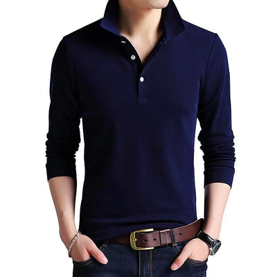 Men's Solid Color Slim Fit Long Sleeve Mercerized Cotton Casual Polo Shirt - MM Watch 4U Store | Quality & Style