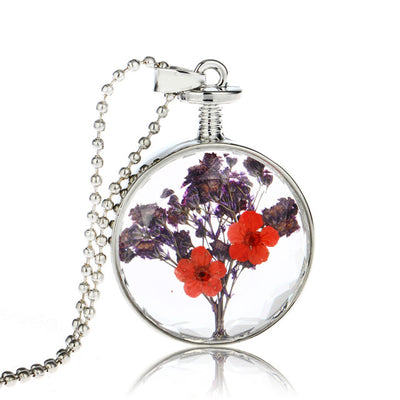 Vintage Handmade Silver Plated With Glass Dried Pressed Flower Shaped Choker Long Necklace