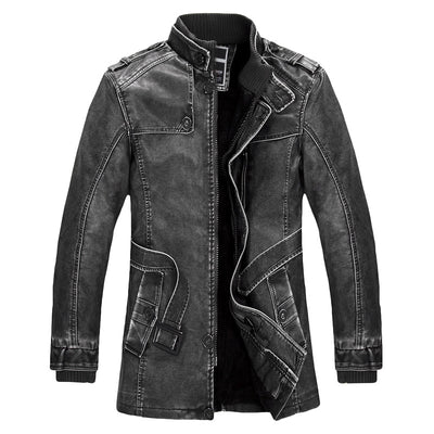Men's Standing Slim Collar High Quality Leather Jacket