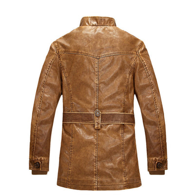 Men's Standing Slim Collar High Quality Leather Jacket - MM Watch 4U Store | Quality & Style