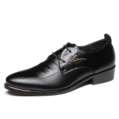 Men's Fashion Pointed Toe Lace Up Business Casual Leather Oxfords Dress Formal Shoes