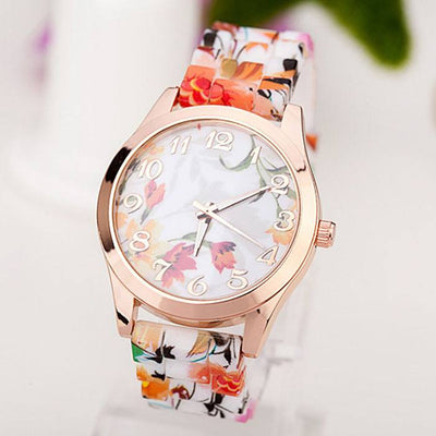 Rose Flower Print Silicone Floral Jelly Ladies' Dress Watch