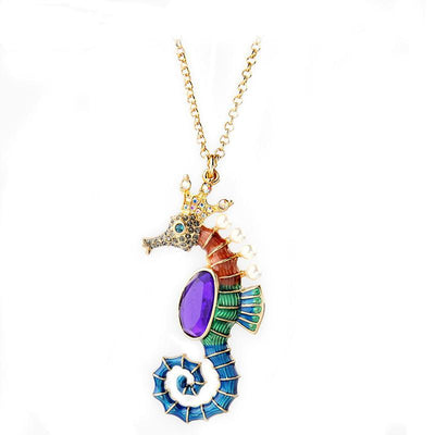 Multicolor Enamel Sea Horse Long Pendant Necklace
