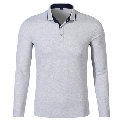 Men's Long Sleeve Casual Polo Sweatshirt