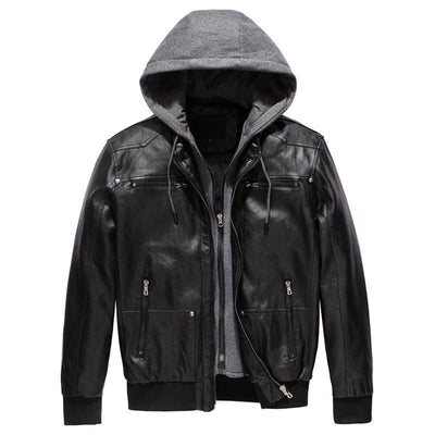 Men's Polar Fleece Hood Detachable PU Faux Leather Jacket