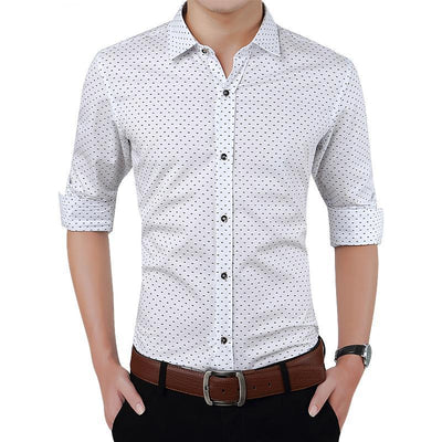 Men's Slim Fit Autumn Long Sleeve Polka Dot Casual Shirt - MM Watch 4U Store | Quality & Style