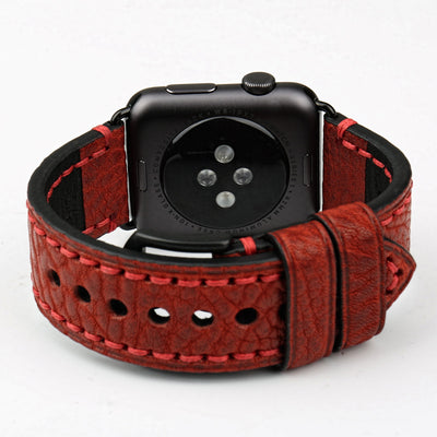 Dark Red Black Genuine Leather Watchband For Apple Watch Series 1 2 & 3 - MM Watch 4U Store | Quality & Style