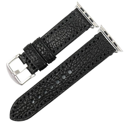 Black Silver Genuine Leather Watchband For Apple Watch Series 1 2 & 3 - MM Watch 4U Store | Quality & Style