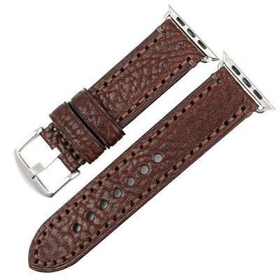 Dark Brown  Genuine Leather Silver Watchband For Apple Watch Series 1 2 & 3 - MM Watch 4U Store | Quality & Style