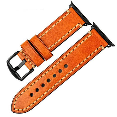 Light Brown Black Genuine Leather Watchband For Apple Watch Series 1 2 & 3 - MM Watch 4U Store | Quality & Style