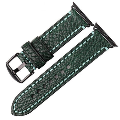 Dark Green Black Genuine Leather Watchband For Apple Watch Series 1 2 & 3 - MM Watch 4U Store | Quality & Style