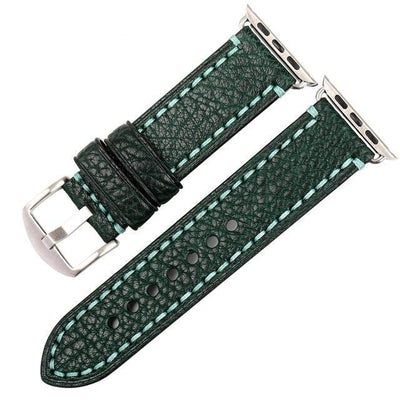 Dark Green Silver Genuine Leather Watchband For Apple Watch Series 1 2 & 3 - MM Watch 4U Store | Quality & Style