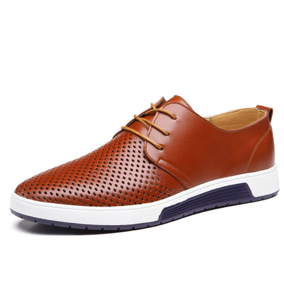 Men's Leather Summer Breathable Holes Flat Shoes - MM Watch 4U Store | Quality & Style