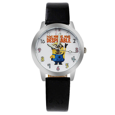 Despicable Me Minions Leather Strap Style Quartz Waterproof Kids Watch