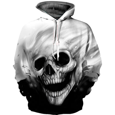 3D Melted Skull Print Hot Hipster Hoodie
