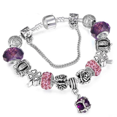 European Style Vintage Silver Plated Crystal Charm Bracelet - MM Watch 4U Store | Quality & Style