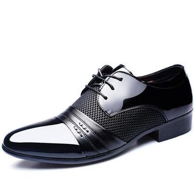 Men's Leather Business Wedding Lace Up Pointed Toe Flat Style Formal Shoes
