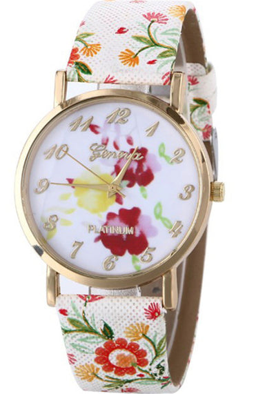 Floral Ladies' Leather Watch - MM Watch 4U Store | Quality & Style