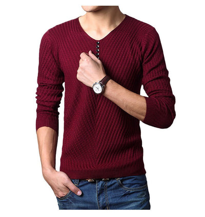 Men's Henley Neck Cashmere Pullover Knitted Sweater - MM Watch 4U Store | Quality & Style