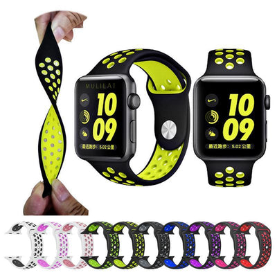 Blue Pink Silicone Sport Watch Band for Apple Watch Series 1 2 & 3 - MM Watch 4U Store | Quality & Style