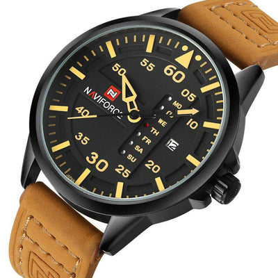 Naviforce Sports Men's Quartz Date Clock Leather Army Military Wrist Watch - MM Watch 4U Store | Quality & Style