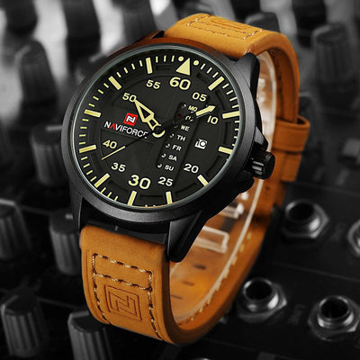 Classically Stylish Leather Military Watch - MM Watch 4U Store | Quality & Style