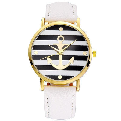 Vansvar Brand Ladies' Fashion Leather Strap Anchor Casual Luxury Quartz Watch