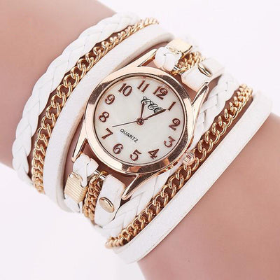 Ladies' Leather & Chains Wraparound Bracelet Watch - MM Watch 4U Store | Quality & Style