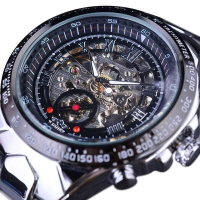 Winner Brand New Number Men's Skeleton Sport Design Bezel Golden Watch