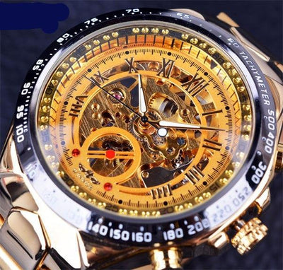 Winner Brand New Number Men's Skeleton Sport Design Bezel Golden Watch - MM Watch 4U Store | Quality & Style