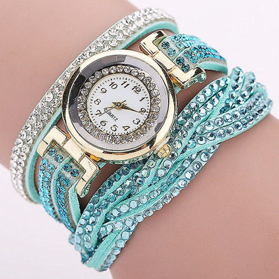 Rhinestones & Braided Leather Wraparound Ladies Watch - MM Watch 4U Store | Quality & Style
