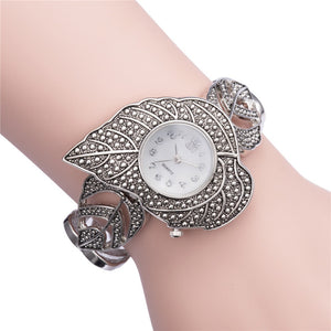 ASJ 2016 New Fashion Ladies'  Leaf Parttern Silver Bracelet Watch