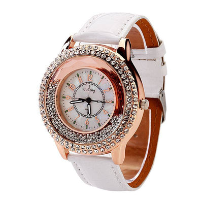 Jocestyle Fashion Ladies' Crystal Rhinestone PU Leather Quicksand Dress Quartz Wristwatch