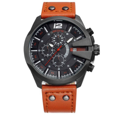 Skone Men's Chronograph Sport Quartz Army Military Leather Wrist Watch