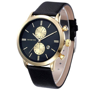 Attractive Men's Leather Chrono Watch