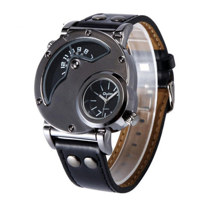 Oulm Casual Leather Strap Men's Military Top Brand Quartz Watch