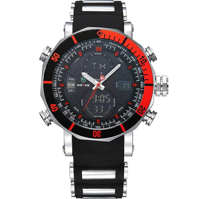 Weide Top Brand Men's Sports Series Luxury Logo Multi-Functional Analog Quartz Digital Alarm Stop Watch