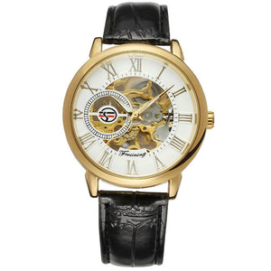 3D Logo Royal Design Black Gold Men's Leather Skeleton Mechanical Watch
