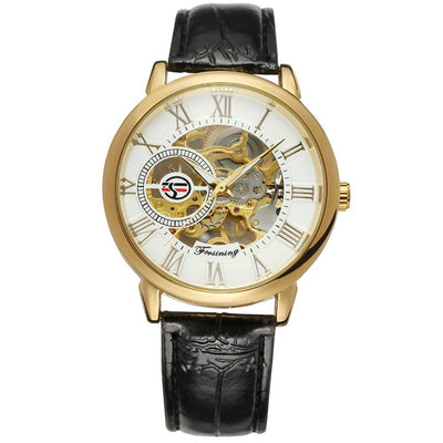 3D Logo Royal Design Black Gold Men's Leather Skeleton Mechanical Watch - MM Watch 4U Store | Quality & Style