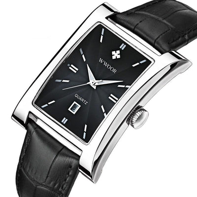 Wwoor Top Brand Luxury Men's Square Clock Quartz Watch