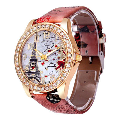 Susenstone Fashion Tower Pattern Diamond Ladies' Dial Faux Leather Watch - MM Watch 4U Store | Quality & Style