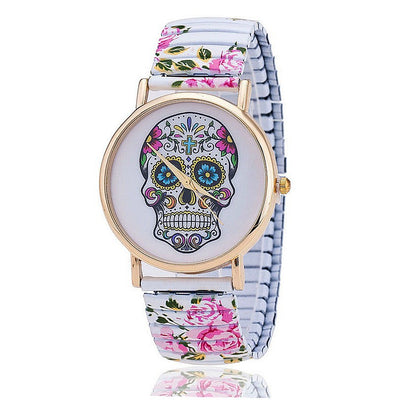 Skull Flower Printed Ladies' Spring Watch - MM Watch 4U Store | Quality & Style