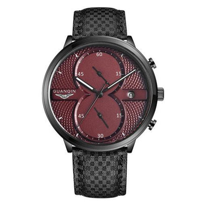Guanqin Luxury Top Brand Men's Business Quartz Leather Watchband Watch
