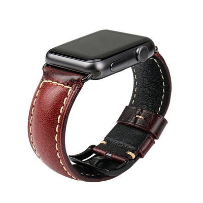 Oil Wax Red Genuine Leather Strap with Silver Buckle Watch Band For Apple Watch(42mm & 38mm) 3, 2 & 1 - MM Watch 4U Store | Quality & Style