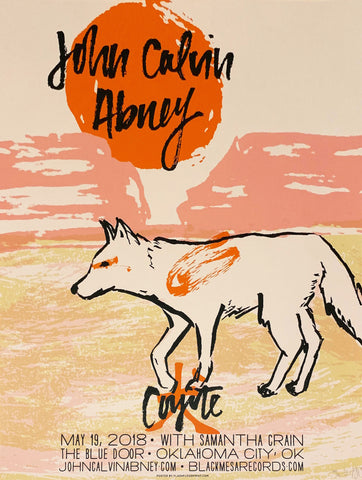 John Calvin Abney - Coyote Blue Door Release Show Poster - Black Mesa Records