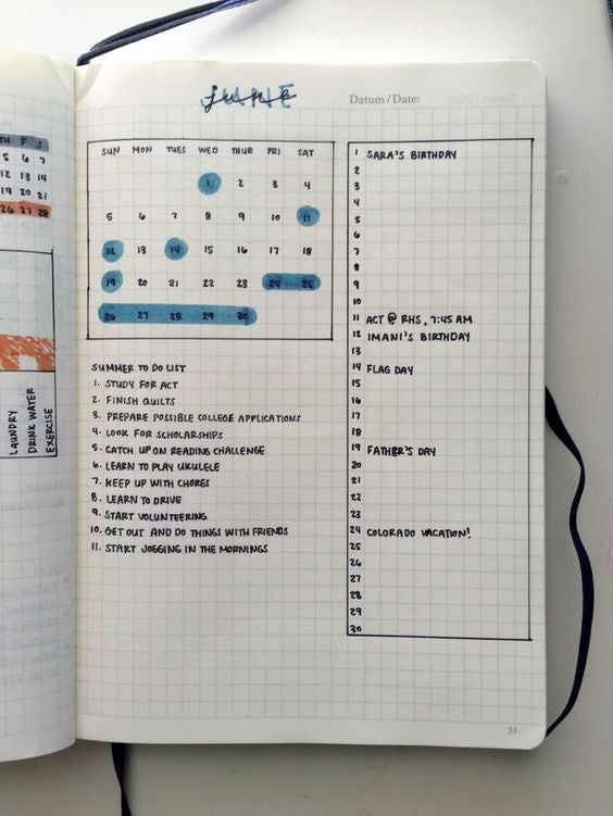 Bujo monthly spread idea| step by step guide to starting a bullet journal