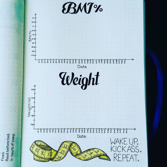 Bullet journal ideas for weight loss journey