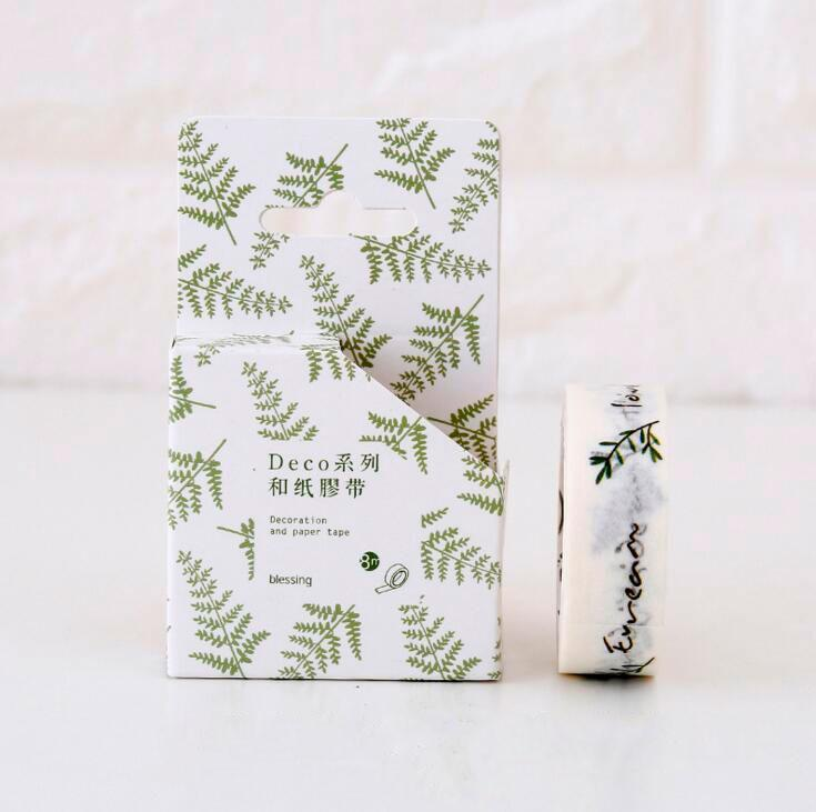 Fern Leaves + Motivational Phrases Washi Tape