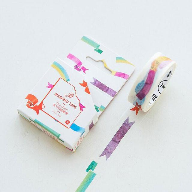 8 Different Washi Tapes Collection Days Of The Week Vintage Stamp Rainbow Bubble Speech