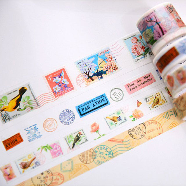 Vintage Retro Postal Stamps and Airmail Theme Washi Tapes Collection - 4pcs in each pack